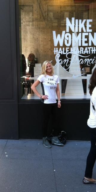 Posing outside of Nike Union Square