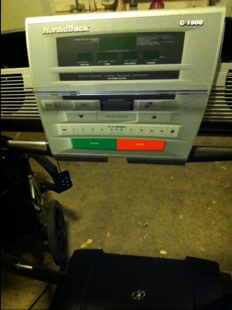 """My """"new to me"""" treadmill. She's got some miles on her, but she's still running great!"""
