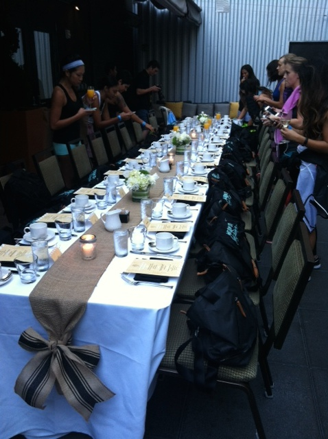 Beautiful table and swag bags at Dirty Habit. Thanks Nike!