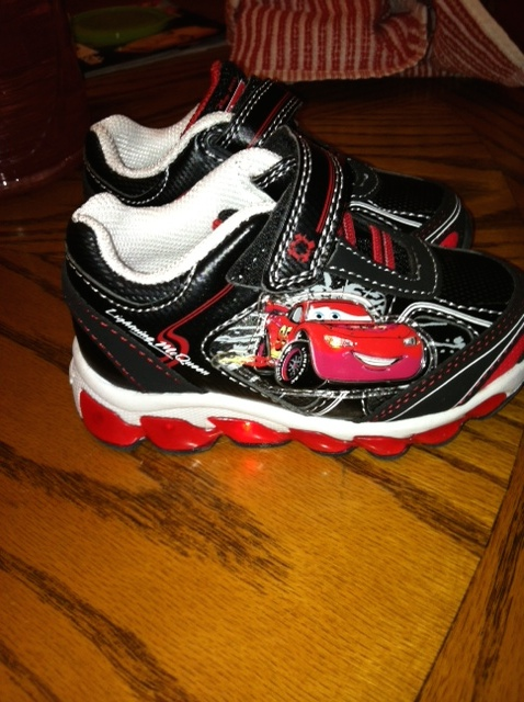 Light-up Cars shoes. Perfection for a 19-month-old with a Car/truck obsession.