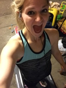 Running selfie from last week. I'm way too excited to be on the treadmill at 11 PM. Also, don't mind all the toys behind the treadmill!