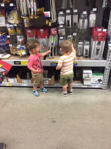 Boys and their tools! I love how it looks like they are legit shopping for stuff. Max is saying