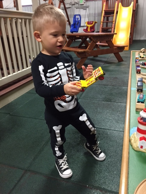 This was from Halloween during the day, but the skeleton outfit was too cute not to share!